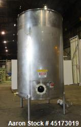 Used-A & B Process Systems Stainless Steel Tank, approximately 2000 gallon.  6' diameter x 12' straight side.  Flat top with...