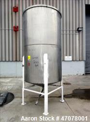 "Tank, Approximate 1,000 Gallon, 304 Stainless Steel, Vertical. Approximate 56"" diameter x 94"" strai..."