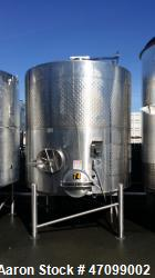 "Approx. 3000 Gallon Stainless Steel Jacketed Wine Tank. Approx. 96"" diameter x 96"" straight side. O..."