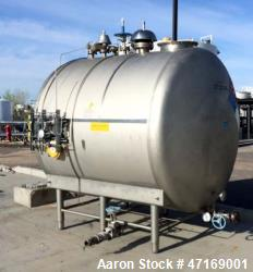 "Stainless Steel Tank, 2,000 Gallon, Horizontal. 84"" diameter x 78"" long. Dished heads. Internal rat..."