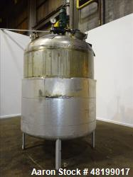 "Used- Industrial Piping Tank, Approximate 1500 Gallon, 304L Stainless Steel, Vertical. Approxmate 72"" diameter x 70"" straigh..."