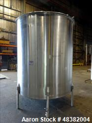 "Used- Perma-San Tank, 2,000 Gallon, 316 Stainless Steel, Vertical. Approximate 82"" diameter x 91"" straight side, flat top, s..."