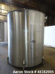 "Used- Tank, Approximately 2,000 Gallon, 316 Stainless Steel, Vertical. Approximate 81"" diameter x 91"" straight side, flat to..."
