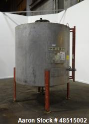 Used- Tank, Approximate 1500 gallon, 304 Stainless Steel, Vertical.
