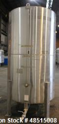 Used- Tank, Approximately 1,000 gallon, 304 Stainless Steel, Vertical.