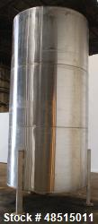 Used- Tank, Approximately 2,500 gallon, 304 Stainless Steel, Vertical.