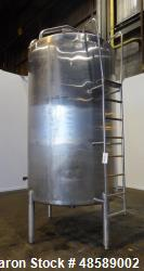 Used- Mueller Tank, Approximately 2000 Gallon, 304 Stainless Steel, Vertical.