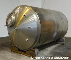 Used- G&F Manufacturing Tank, 2500 Gallon, 316L Stainless Steel, Vertical.