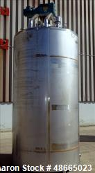 Used- Mueller Jacketed Mix Tank, Approximate 1,600 Gallon, 316 Stainless Steel,