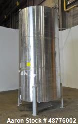 Used- Tank, Approximately 2400 Gallon, 304 Stainless Steel, Vertical.