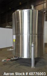 Used- Precision Tank, Approximately 2200 Gallon, 304 Stainless Steel, Vertical.