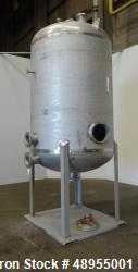 Used- Four Corp Pressure Tank, Approximately 1,250 Gallon, 304 Stainless Steel.