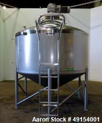 "Used- Mueller Tank, 1,500 Gallon, 304 Stainless Steel, Vertical. Approximate 96"" diameter x 42"" straight side, dish top, con..."