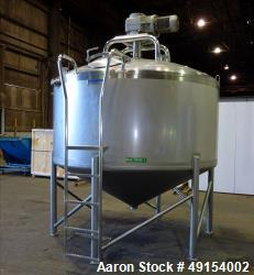 Used  Mueller 1500 gallon Custom Model F Tank, Stainless steel.  Cone Bottom.  Sweep agitation.  Non-Jacketed.  Over all tan...