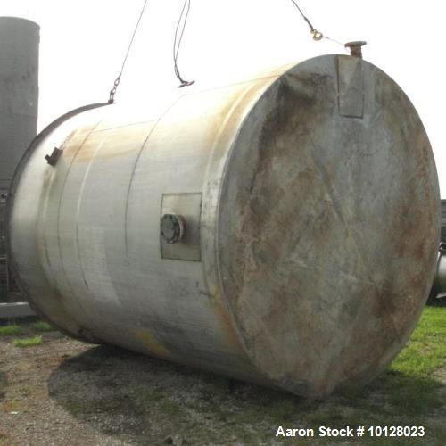 "Used- 11,900 Gallon Vertical Stainless Steel Tank. Interior dimensions 140"" diameter x 175"" tall, open top, sloped bottom wi..."