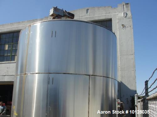 "Used- 6000 Gallon 304 Stainless Steel Vertical Tank with Dished Heads on Six Legs. Tank is 120"" diameter with 111"" straight ..."