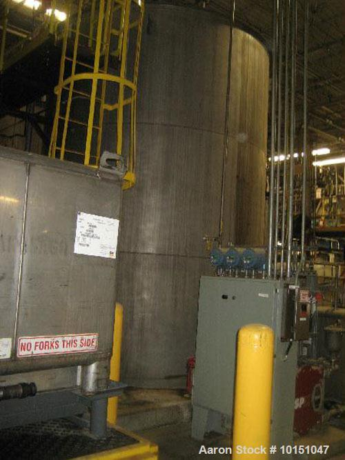 Used-Approximate 10,000 gallon vertical 304 stainless steel tank.