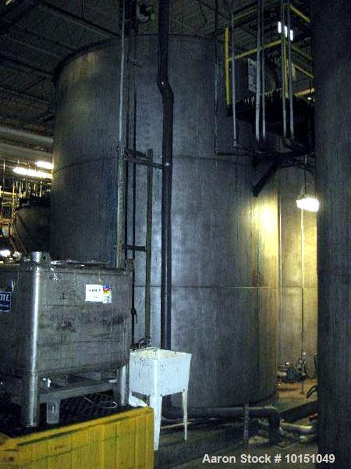 Used-Approximate 10,000 gallon vertical 304 stainless steel tank with sloped bottom head.