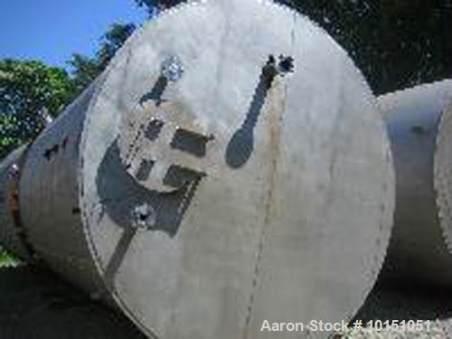 Used-Approximate 10,000 gallon vertical 304 stainless steel tank. 10' Diameter x 16' straight side. With flat top and sloped...