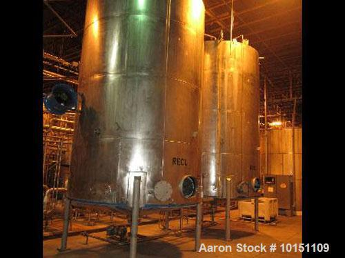 "Used-Approximately 9,700 gallon stainless steel storage tank.11'6"" diameter x 12'6"" straight side.With slight cone top, 8"" c..."