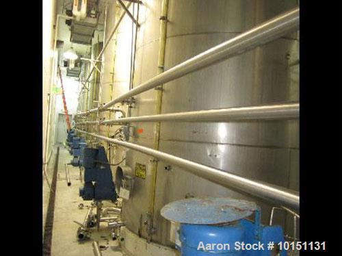 "Used-Approximately 8,000 gallon vertical stainless steel tank.9'6"" Diameter x 15' straight side.With flat top and bottom hea..."