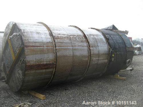 "Used-Omni Fab Tank, 5,000 Gallons, T316 Stainless Steel, Vertical.  Approximately 84"" diameter x 204"" straight side, flat to..."