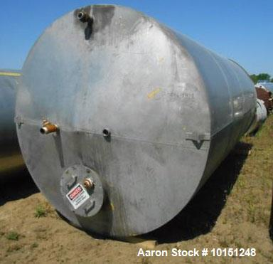 Used- 6,000 Gallon Eisenback Vertical Tank. 8' diameter x 16' straight side. 304 stainless steel. Slight cone top, flat bott...