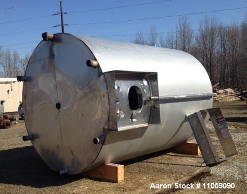 "Used- Walker, 5000 Gallon, Sanitary, Jacketed Mix Tank/Silo. Sweep mixer driven by Hydraulic Drive. 8'6"" ID x 12' T/T. Dish ..."