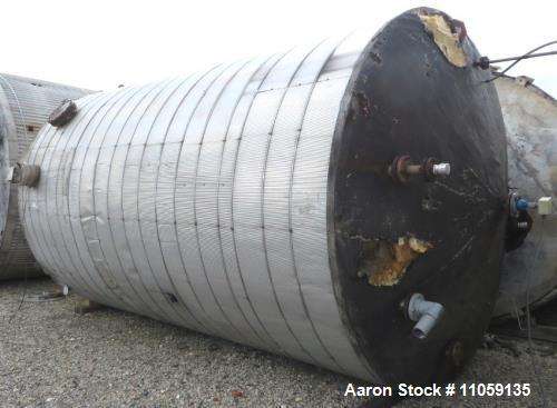 Used- 9,000 Gallon Stainless Steel Storage Tank. 10' diameter x 16' straight side. Cone top, flat bottom.