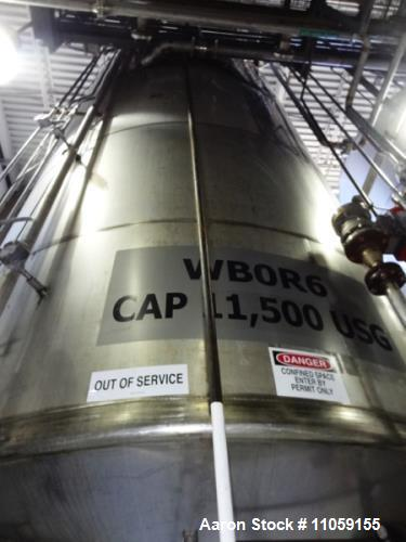 Used- 11,500 Gallon Stainless Steel Agitated Tank.