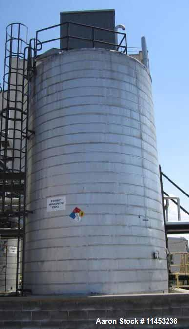 "Used- 27,000 Gallon Stainless Steel Storage Tank. Approximately 13'6"" diameter x 26' straight side, dome top, flat bottom."