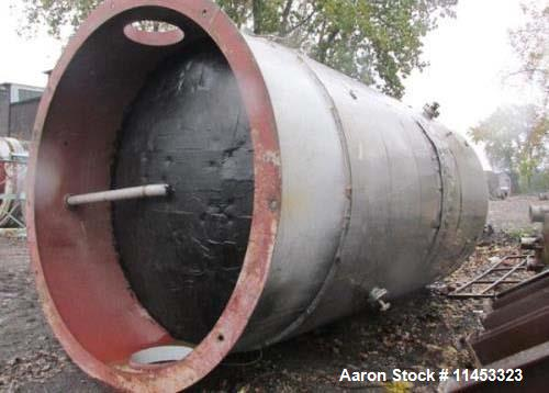 "Used- 12,000 Gallon, 304 Stainless Steel Tank. 12' diameter x 16' straight side; 4' carbon steel skirt. Dished ends, 24"" sid..."
