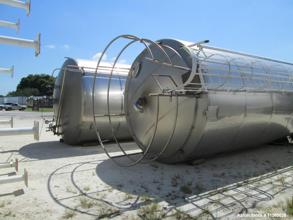 "Used- 20,000 Gallon Feldmeier Vertical 304 Stainless Steel Storage Tank. 2B Finish. 142"" diameter x 25' straight side. Flat ..."