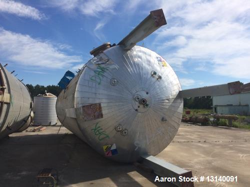 """Used- Industrial Alloy Fabricators Inc. Approximately 25,000 Gallon 304 Stainless Steel Vertical Tank. 12' diameter x 29'-2""""..."""