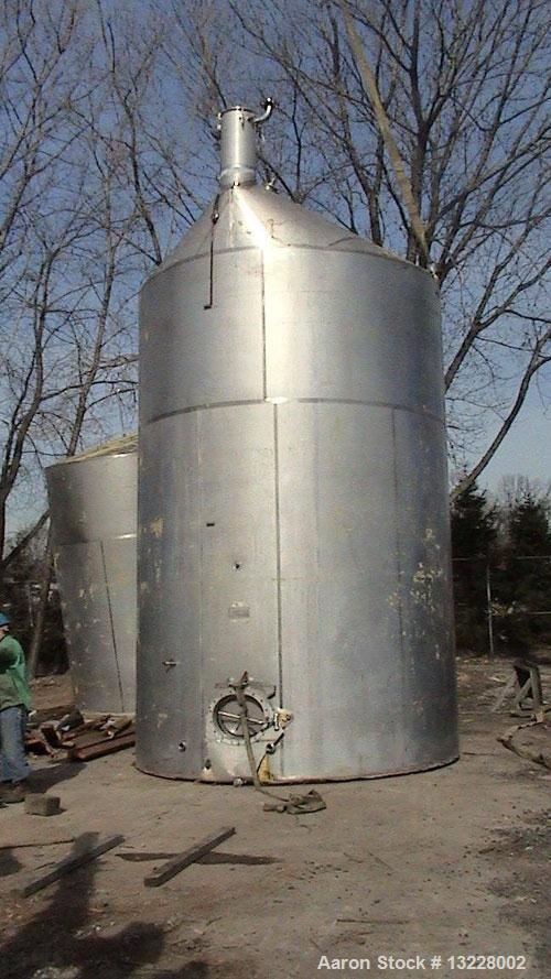 Used-10,000 Gallon, T316 Stainless Steel, Storage Tank. Approximately 11' diameter x 16' high straight side plus approximate...