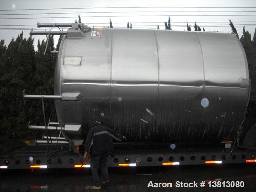 "Used-14,000 Gallon Stainless Steel, Vertical Mixing Tank, Bottom Side Agitator, 23'L x 11'11"" W x 13'5"" Tall."
