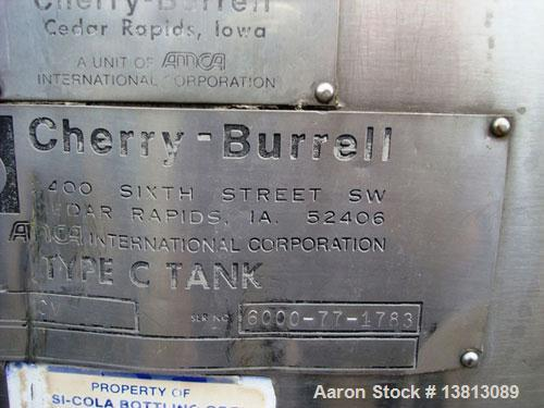 Used-Cherry Burrell 6,000 Gallon Top Agitated Mixing Tank, Model CV.  Top agitated stainless steel single wall mixing tank w...