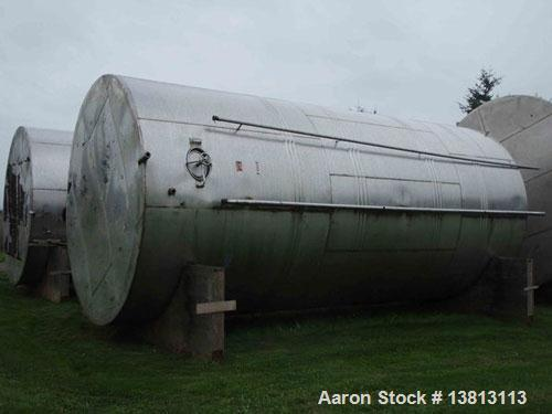 "Used-J&S 20,000 Gallon Stainless Steel Tank.  12'6"" Wide x 28'2"" tall, 5500 lbs, with spreader bar and rigging, 304 stainles..."