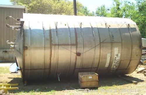 "Used-15,000 Gallon Vertical 316 Stainless Steel Storage Tank. 136"" diameter x 240"" straight side. Tank has internal heating ..."