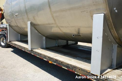 Used- 12,000 Gallon Stainless Steel Tank. 316 stainless steel, horizontal. 10' diameter x 20'. 1' peak ends, 22' long x 11' ...