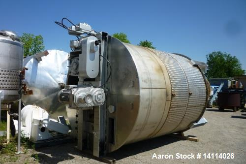 Used- 7,200 Gallon Stainless Steel Scrape Agitation Tank. Jacketed, 316L stainless steel, vertical. 10' inside diameter x 11...