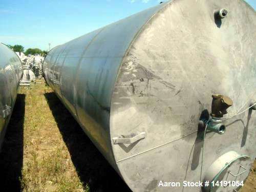 "Used- Eisenback 6,000 Gallon Stainless Steel Vertical Storage Tank. 304 stainless steel. Flat bottom, dished head, 6' 8"" dia..."