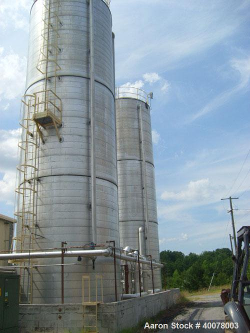 "Used-55,000 Gallon Stainless Steel Vertical Tank, 14' x 57', insulated, 30"" manhole."