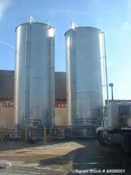 "Unused- 40,000 GALLON 304 STAINLESS STEEL VERTICAL TANK. APPROX. 13'9"" DIAMETER X 37' LONG. BUILT IN 1996."