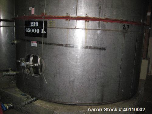 "Used- Westeel 17,196 Gallon (65,000 Liter) 304 Stainless Steel Storage Tank. Vertical Design. Approx. 10' Diameter x 31'6""  ..."