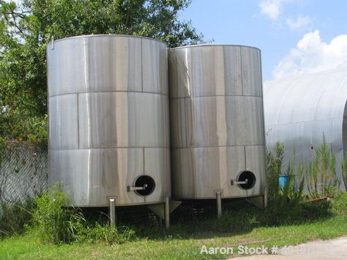 "Unused-NEW-6,000 gallon 304 vertical stainless steel tanks, 9'-6""D x 12'-0"" side shell (~15'H over all), shallow cone bottom..."