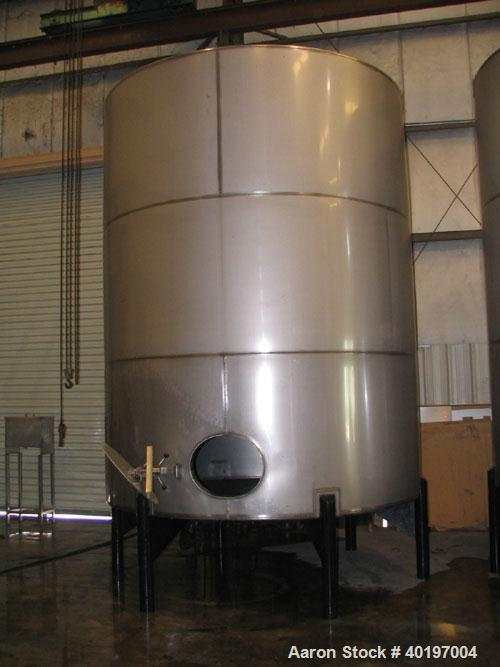 "Unused-NEW-6,000 gallon 304 vertical stainless steel tanks, 9'-6""D x 12'-0""H side shell (~15'H over all), shallow cone botto..."