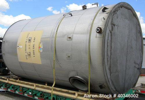 "Used- Industrial Air Inc Tank, 7,000 gallon, 304 stainless steel, vertical. Approximately 104"" diameter x 192"" straight side..."