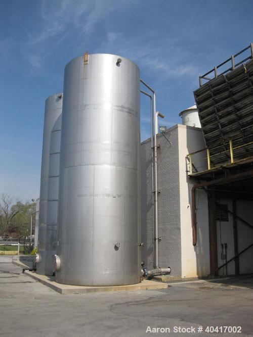 "Used-25,000 Gallon 304 Stainless Steel Vertical Storage Tank. Approximate 11' 10"" diameter x 30' straight side, flat bottom,..."