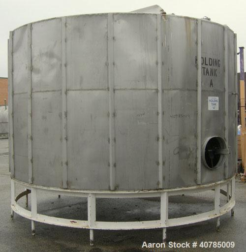 "Used- Tank, 6,000 Gallon, 304 Stainless Steel, Vertical. 144"" diameter x 84"" straight side. Flat top, slight coned bottom. T..."